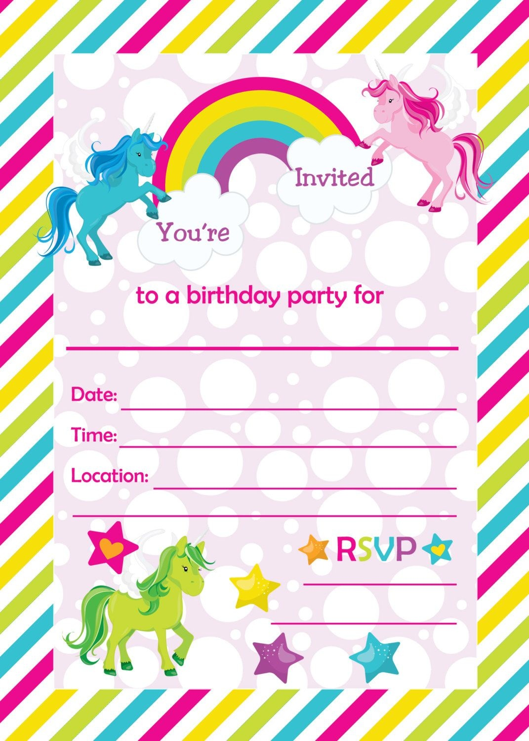 Free Printable Golden Unicorn Birthday Invitation Template - Happy Birthday Invitations Free Printable
