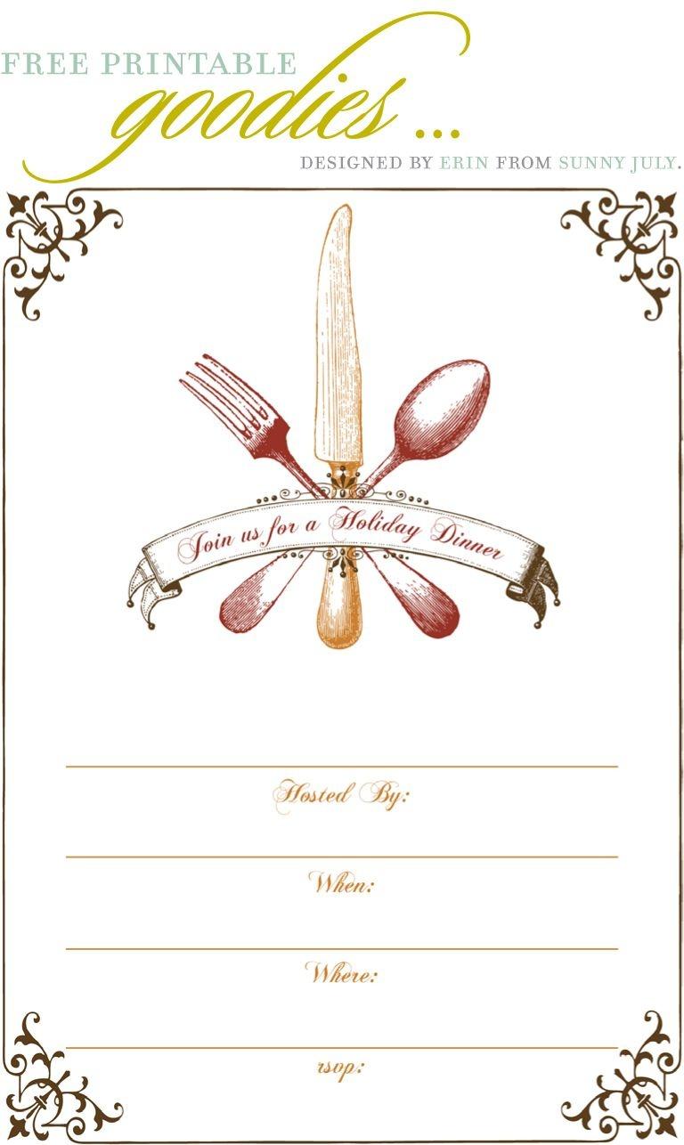 Free Printable Goodies - Sunny July | Holiday Thanksgiving | Dinner - Free Printable Thanksgiving Dinner Invitation Templates