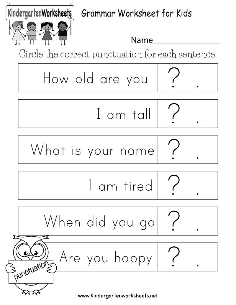 Free Printable Grammar Worksheet For Kids For Kindergarten - Free Printable Grammar Worksheets
