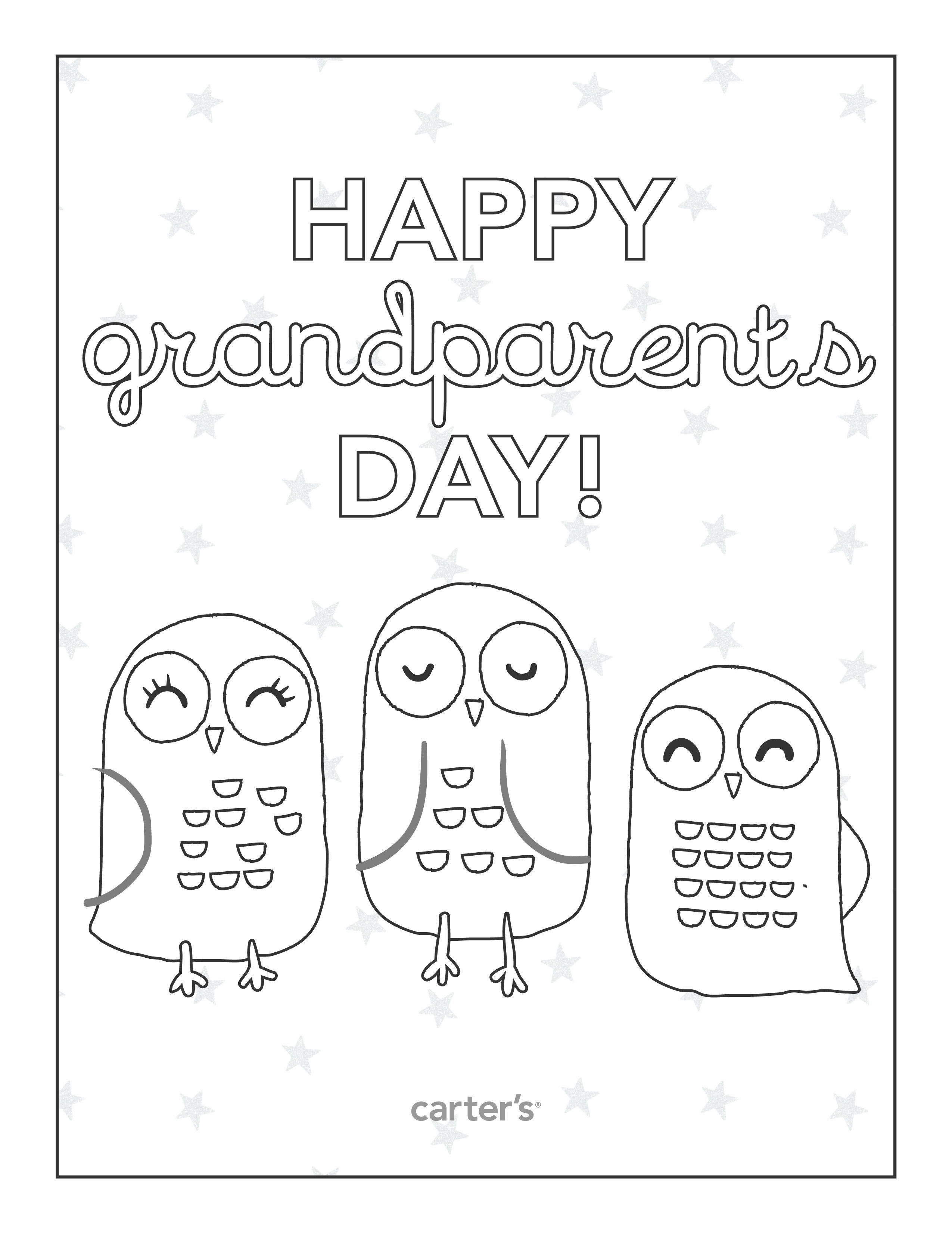 Free Printable Grandparents Day Coloring Pages From Carter's - Grandparents Day Cards Printable Free