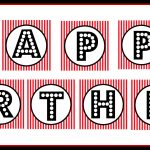 "Free Printable ""happy Birthday"" Banner / Red, Black & White – Free Printable Birthday Banner"