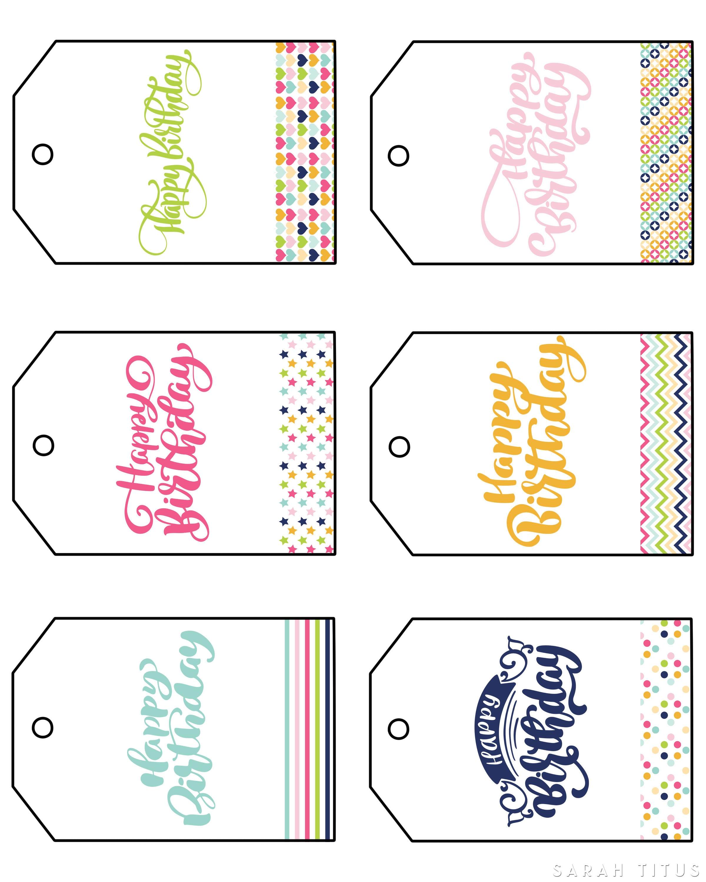 Free Printable Happy Birthday Gift Tags - Sarah Titus - Free Printable Gift Tags