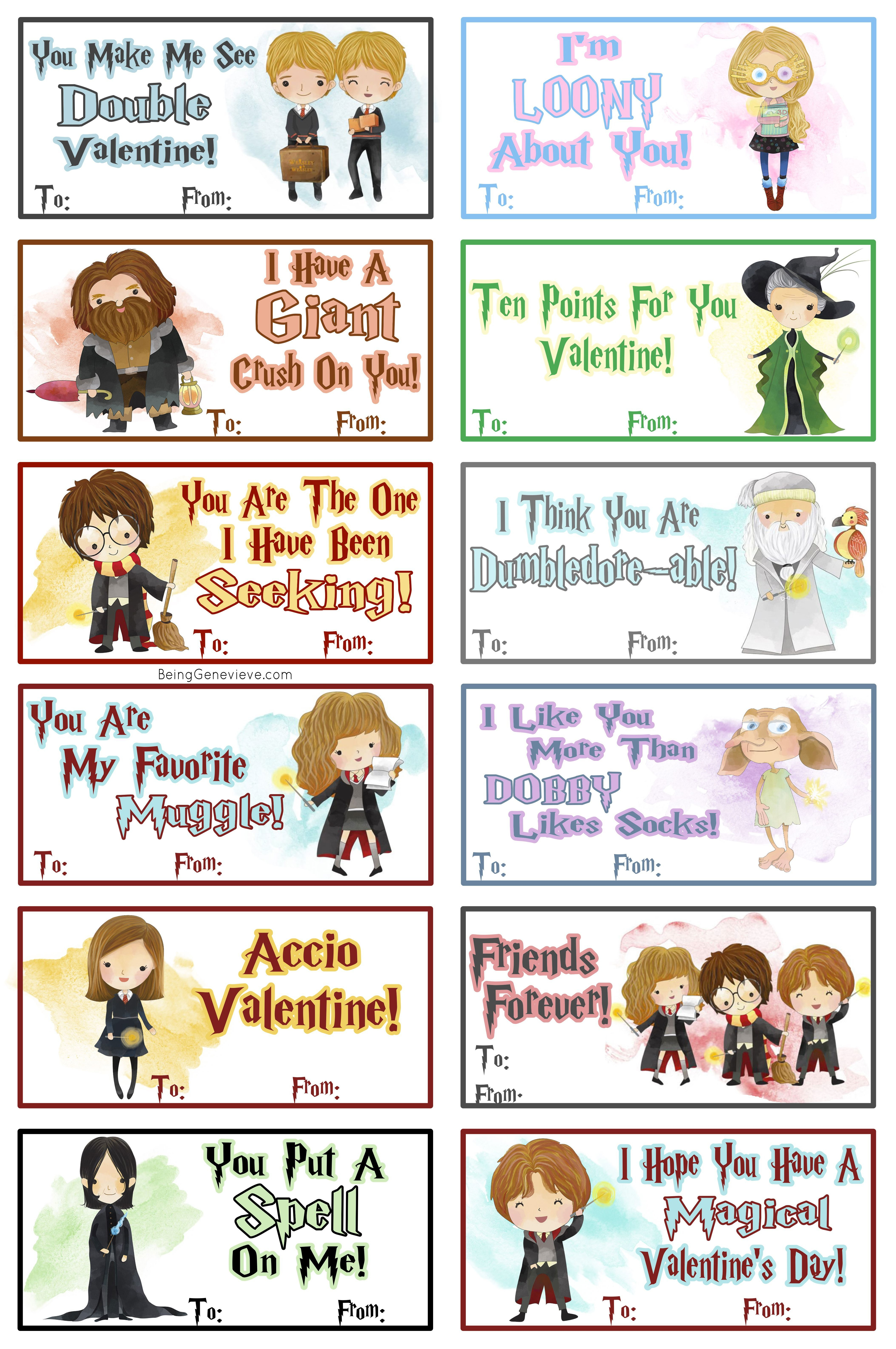 Free Printable Harry Potter Valentines   Being Genevieve - Free Printable Harry Potter Pictures