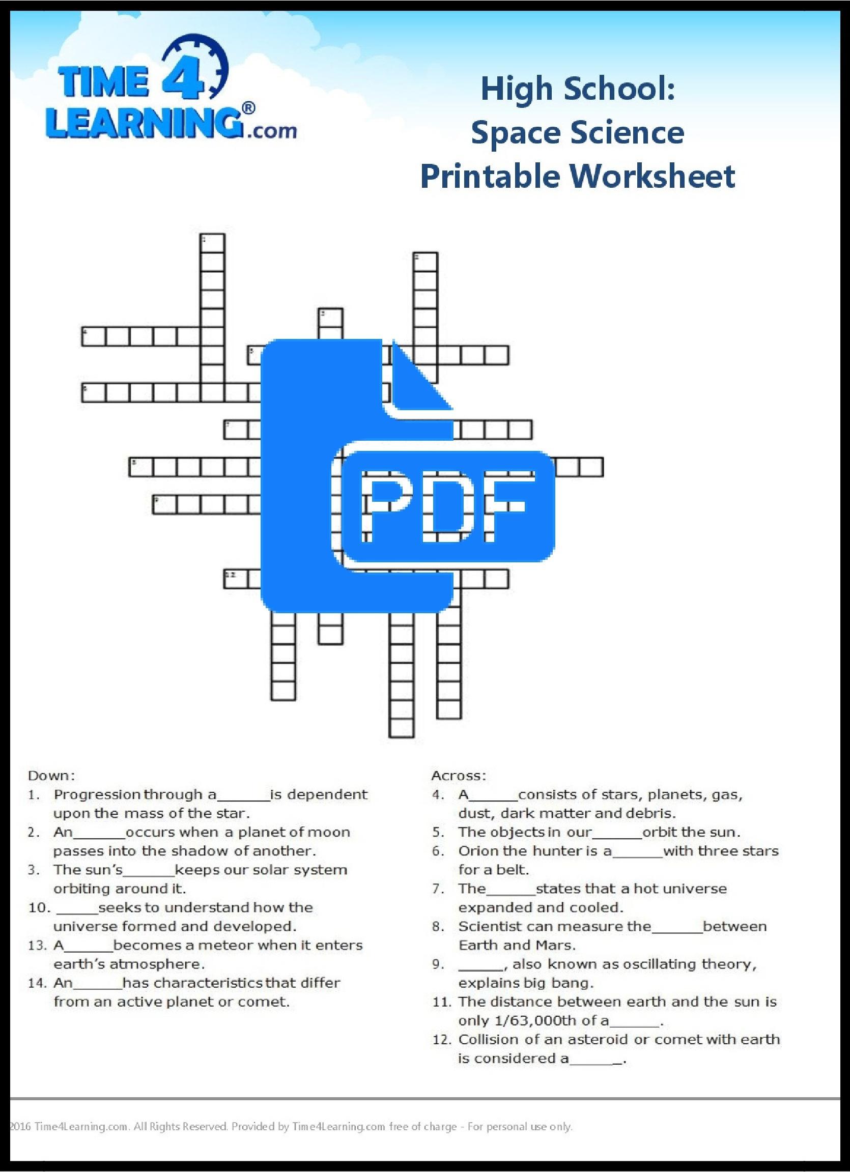 Free Printable: High School Space Science Worksheet | Time4Learning - Free Printable High School Worksheets