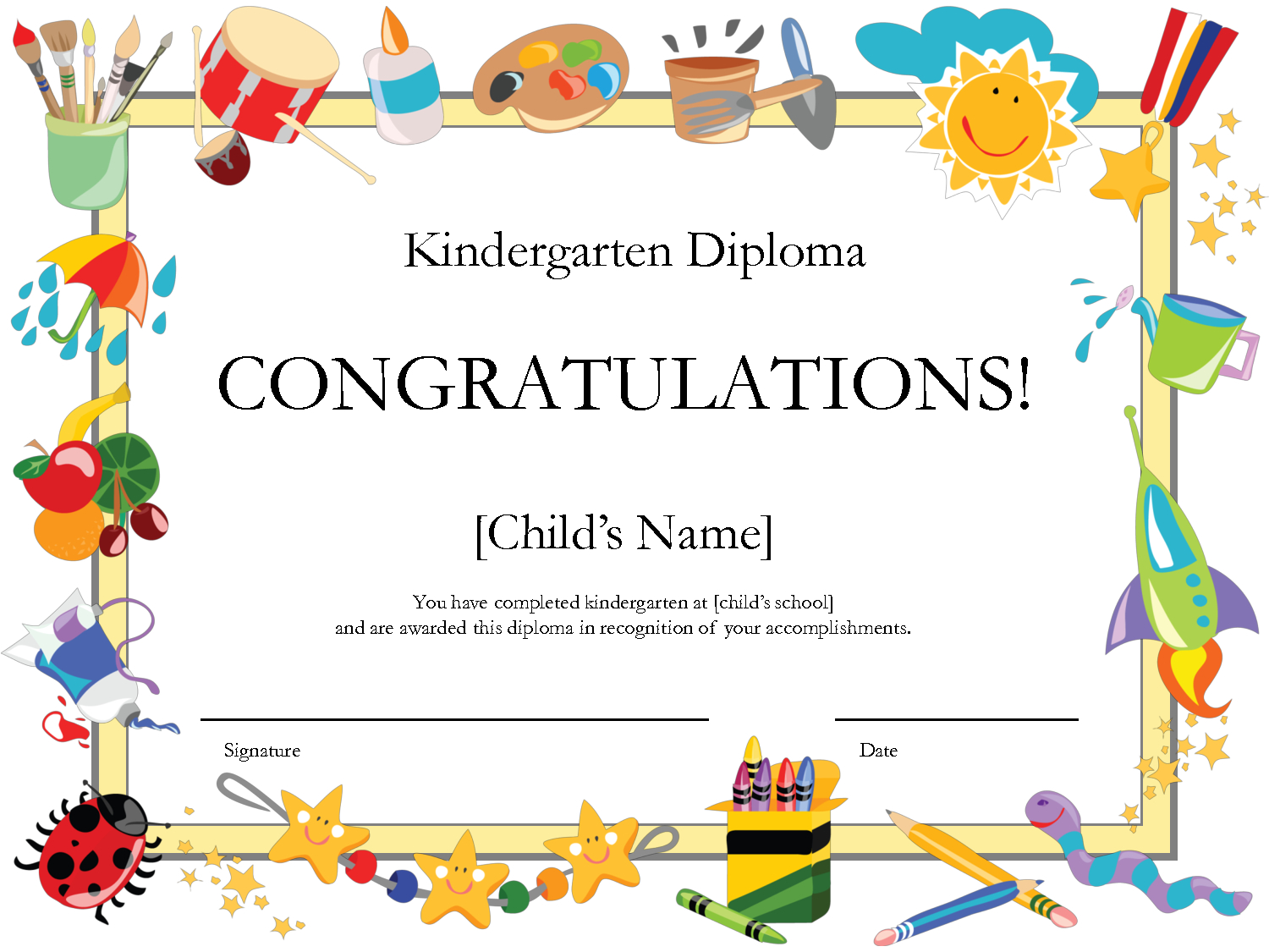 Free Printable Kindergarten Diplomaprintshowergames 0Megipu4 - Free Printable Honor Roll Certificates Kids