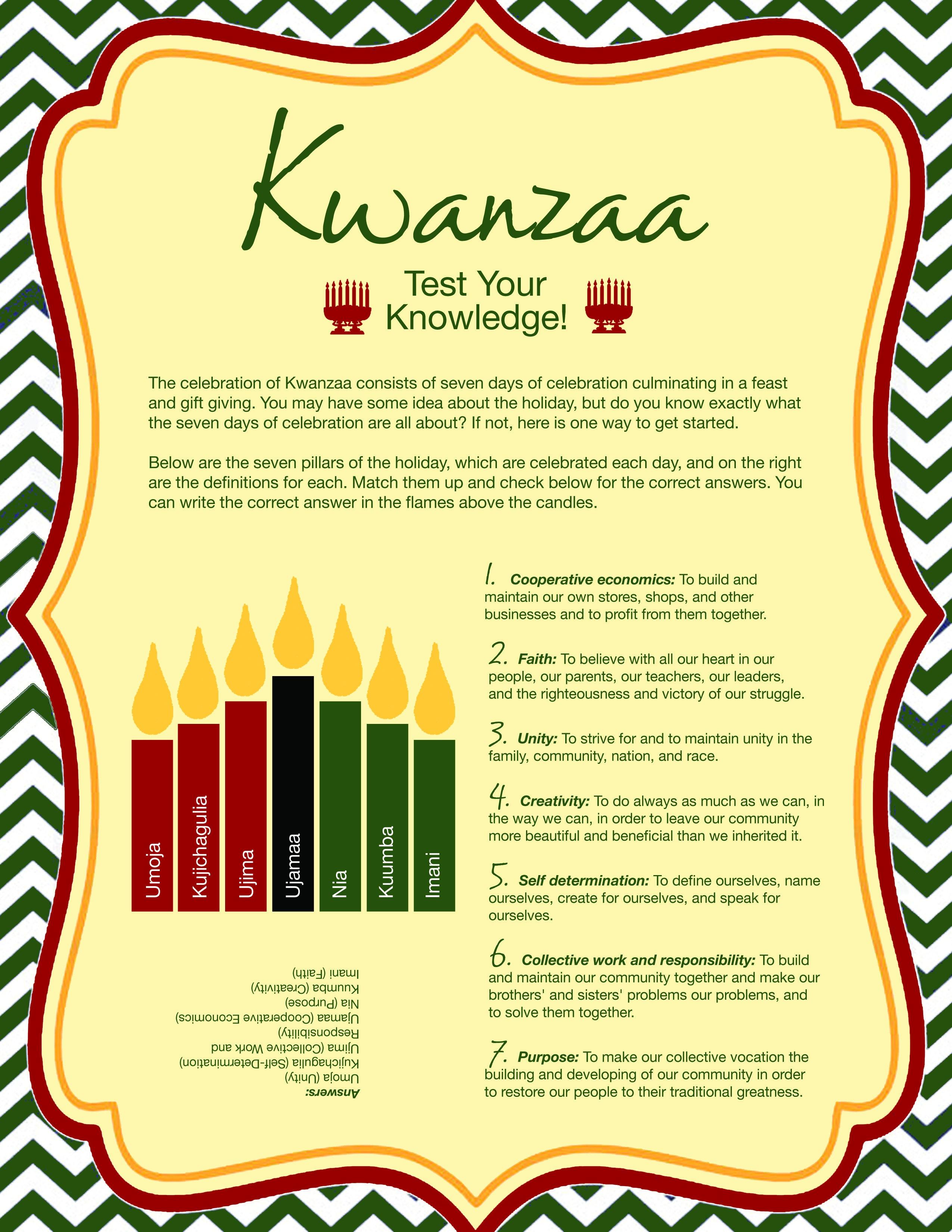 Free Printable Kwanzaa Quiz | Celebrate Kwanzaa!!! | Kwanzaa 2016 - Kwanzaa Trivia Free Printable