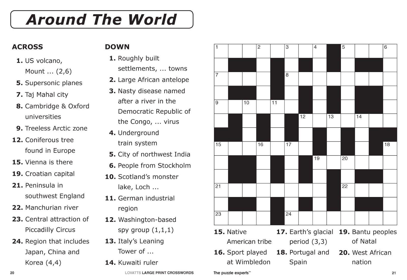 Free Printable Large Print Crossword Puzzles | M3U8 - Free Printable Crosswords Easy
