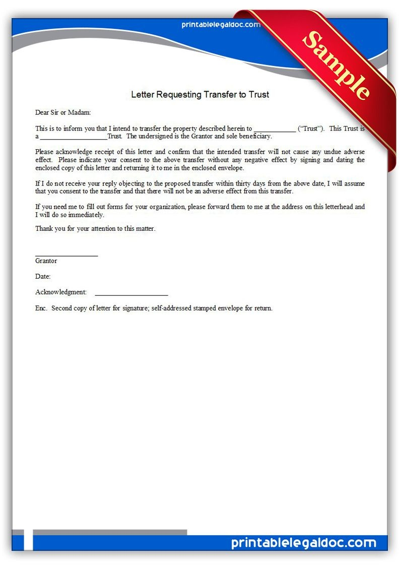 Free Printable Letter Requesting Transfer To Trust Legal Forms - Free Printable Will And Trust Forms