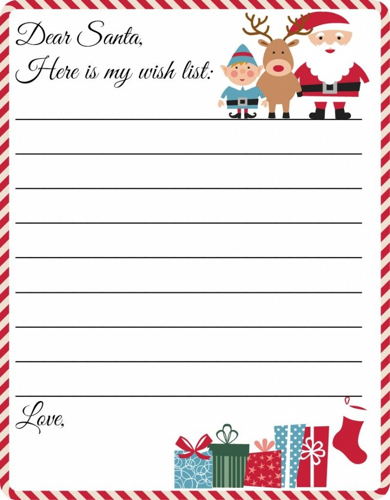 Free Printable Letter To Santa Template ~ Cute Christmas Wish List - Free Printable Christmas Letters From Santa