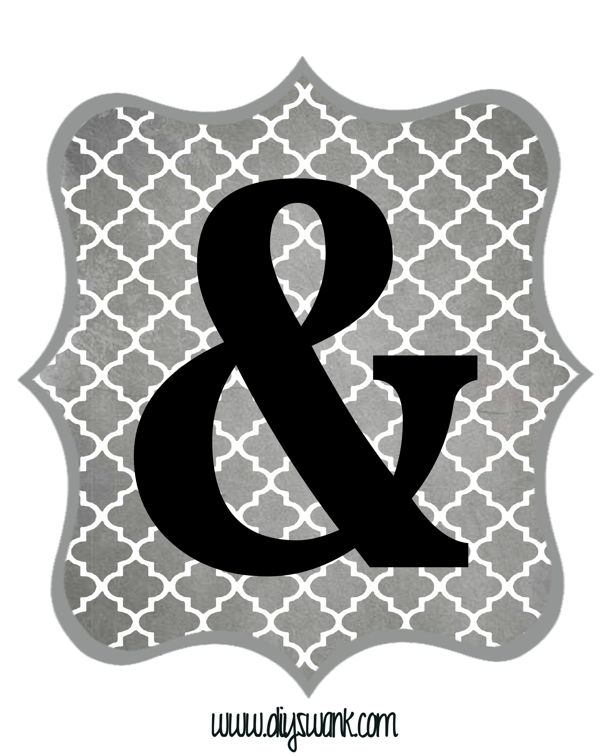 Free Printable Letters Gray And Black | Diy Swank - Free Printable Letters And Numbers
