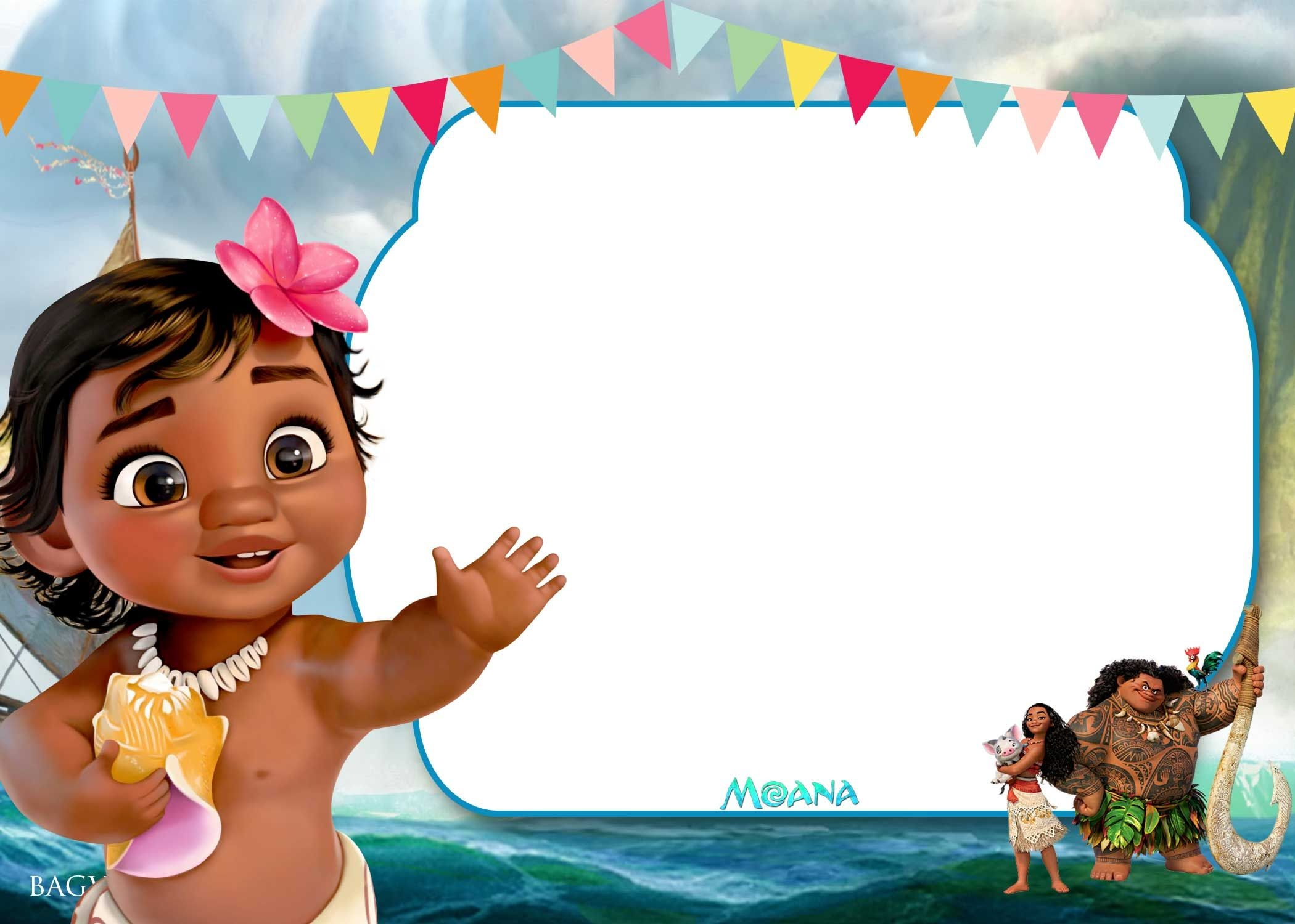 Free Printable Little Moana Birthday And Baby Shower   Moana - Free Printable Moana Birthday Invitations