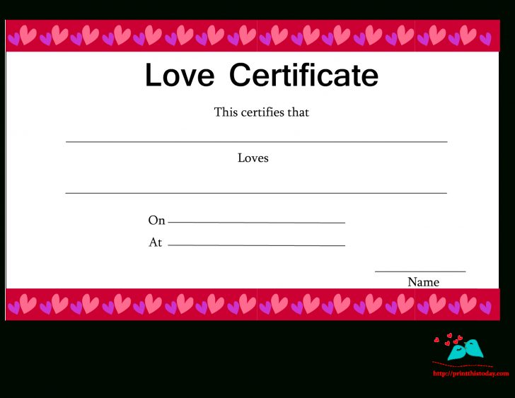 Free Printable Love Certificates For Him