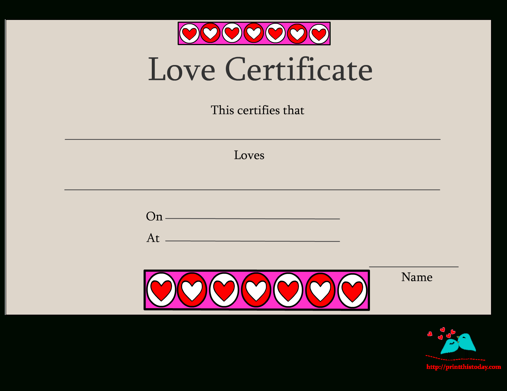 Free Printable Love Certificates - Free Printable Love Certificates For Him