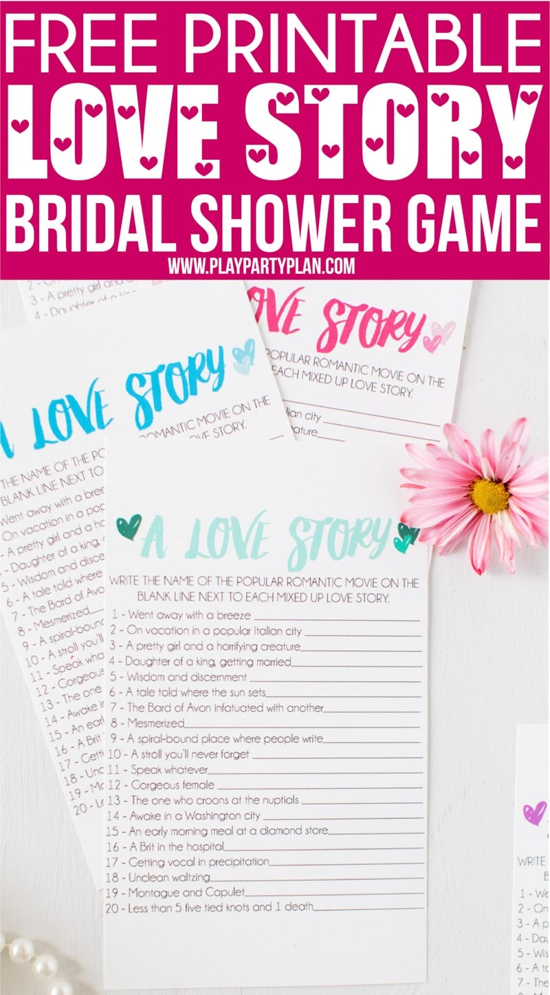 Free Printable Love Story Bridal Shower Game - Play Party Plan - Free Printable Wedding Shower Games
