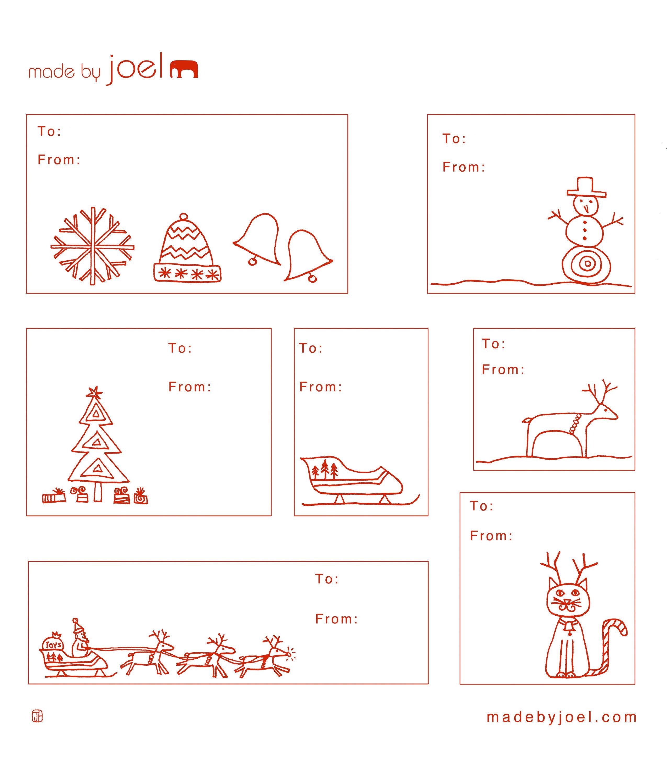 Free Printable: Madejoel » Holiday Gift Tag Templates - Free Printable Gift Tags Templates