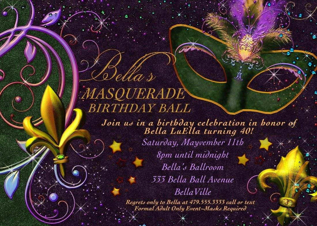 Free Printable Mardi Gras Invitation | Misc | Masquerade Invitations - Free Printable Mardi Gras Invitations