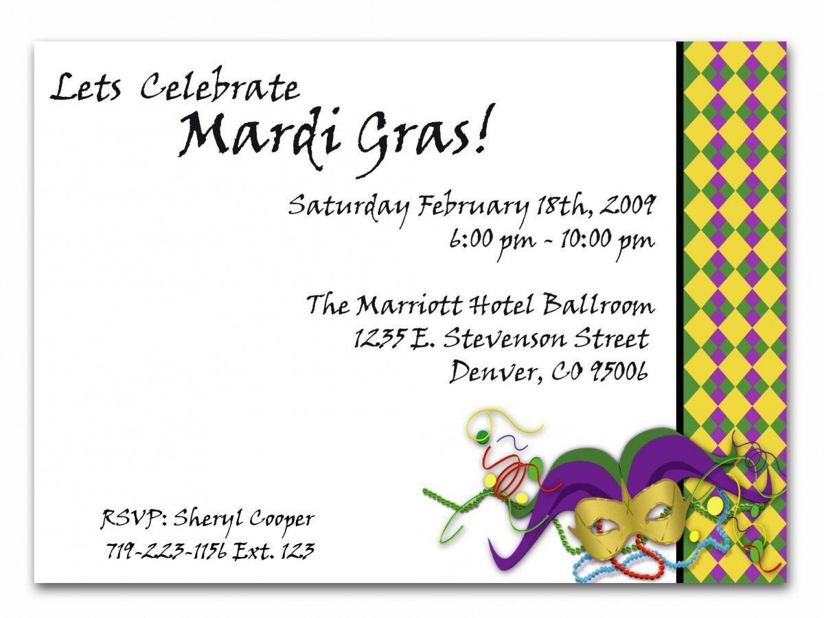Free Printable Mardi Gras Invitations - Anarchistshemale - Free Printable Mardi Gras Invitations