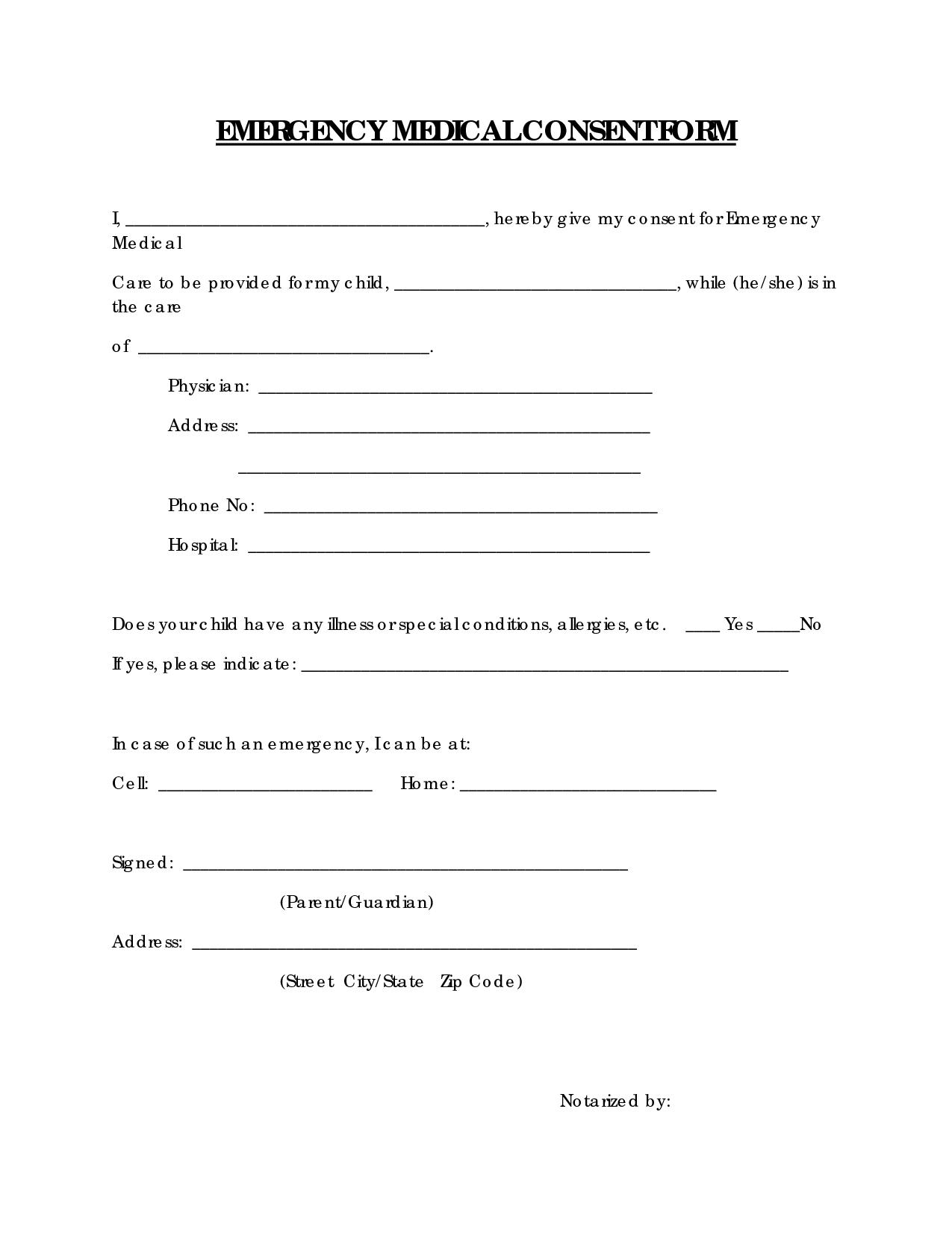 Free Printable Medical Consent Form | Emergency Medical Consent Form - Free Printable Medical Forms Kit