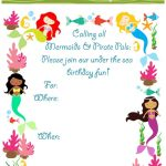 Free Printable Mermaid Birthday Party Invitations For Your Next   Mermaid Birthday Invitations Free Printable