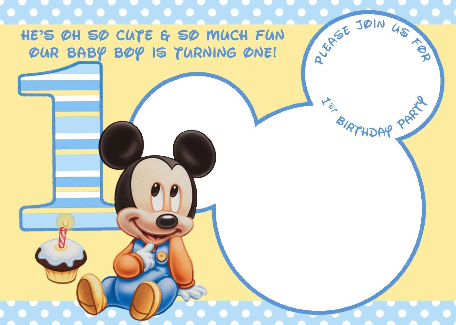 Free Printable Mickey Mouse Invitations - Exclusive | Free - Free Printable Mickey Mouse 1St Birthday Invitations