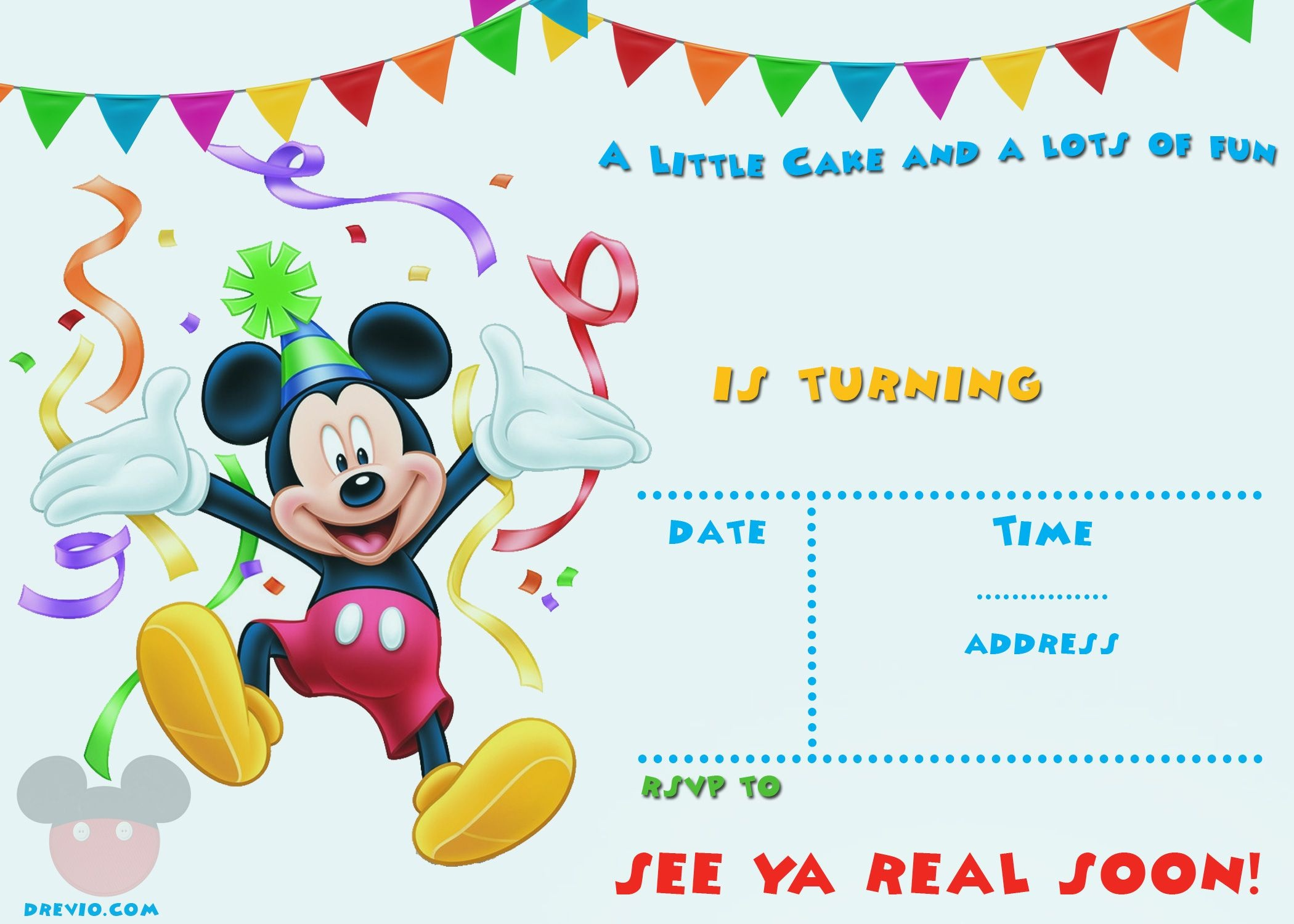 Free Printable Mickey Mouse Party Invitation Template | Free - Free Printable Mickey Mouse Invitations