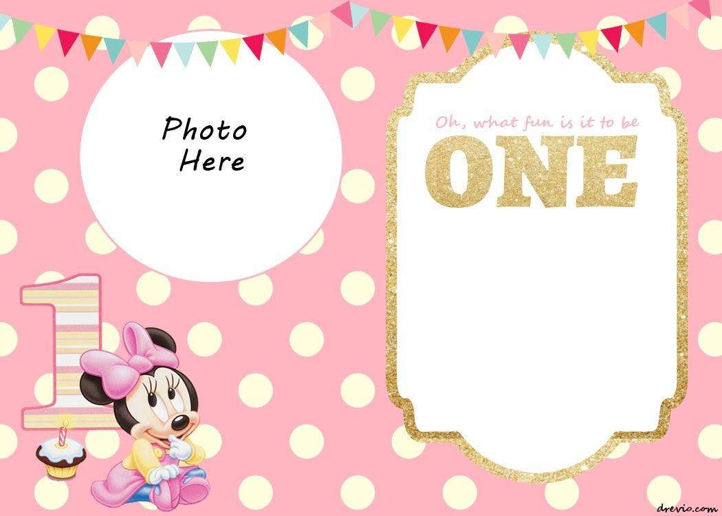 Free Printable Minnie Mouse 1St Invitation | Talli | Minnie Mouse - Free Printable Mickey Mouse 1St Birthday Invitations