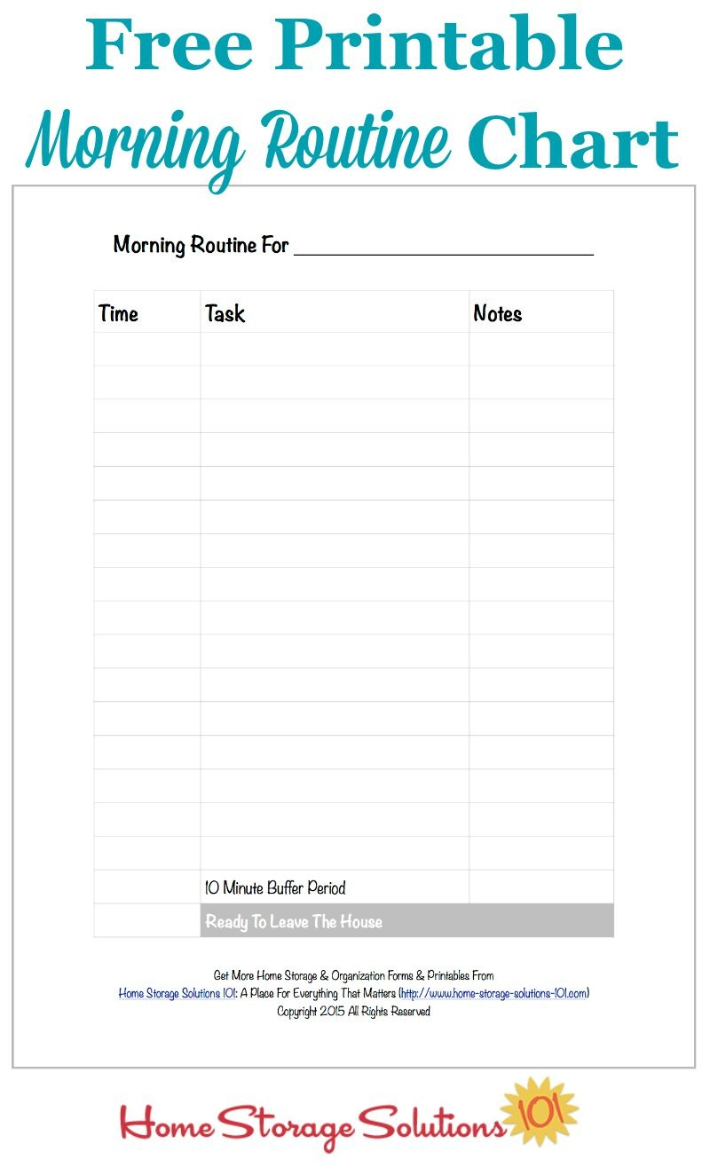 Free Printable Morning Routine Chart {Plus How To Use It} - Free Printable Morning Routine Chart