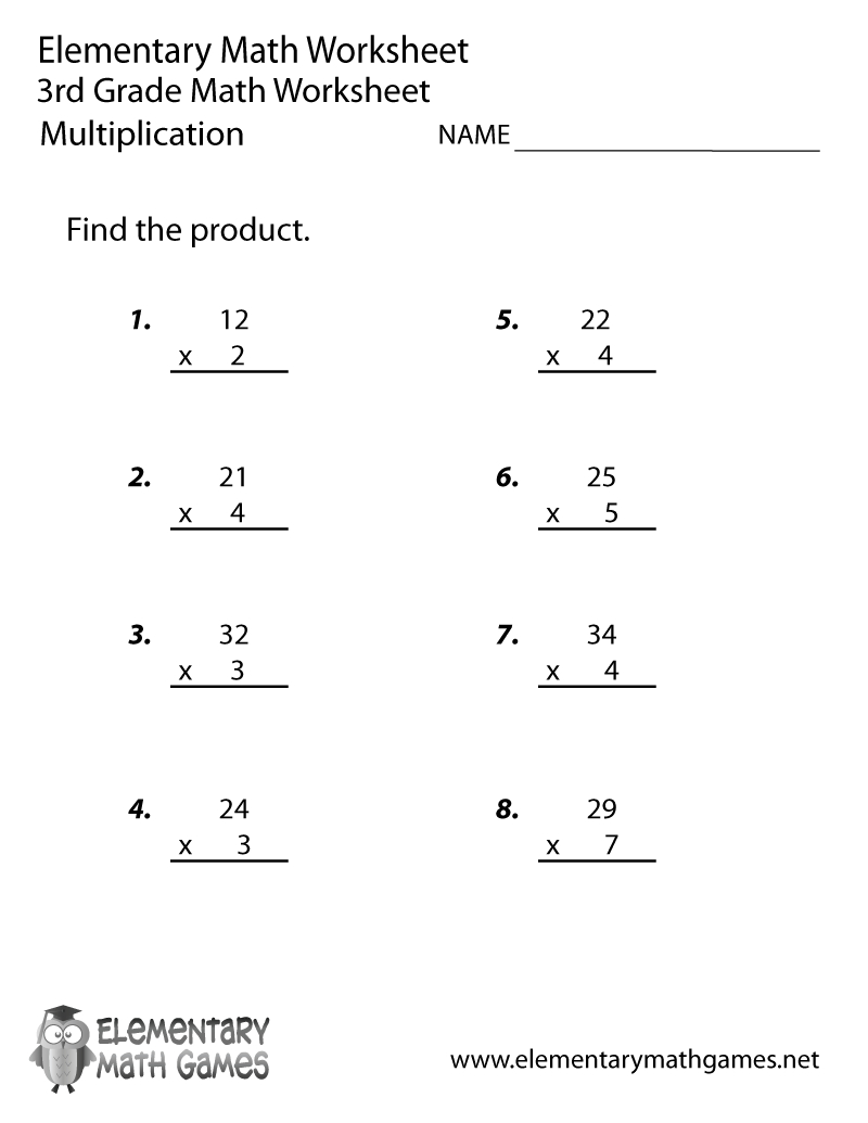 Free Printable Multiplication Worksheet For Third Grade - Free Printable 3Rd Grade Worksheets