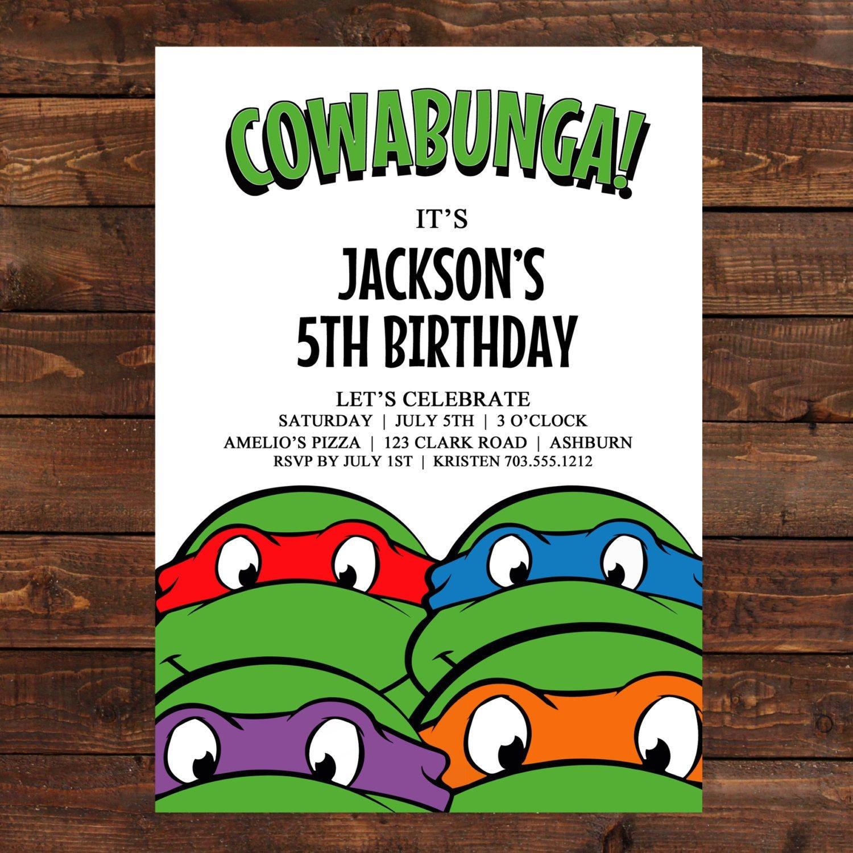 Free Printable Ninja Turtle Birthday Invitations   Želve   Convites - Free Printable Ninja Turtle Birthday Invitations