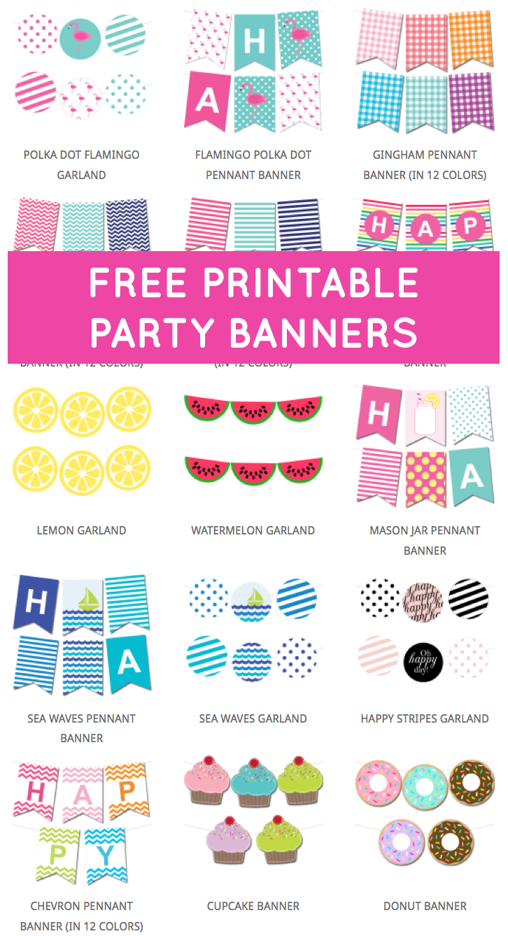Free Printable Party Banners From @chicfetti | Free Printables - Free Printable Birthday Banner