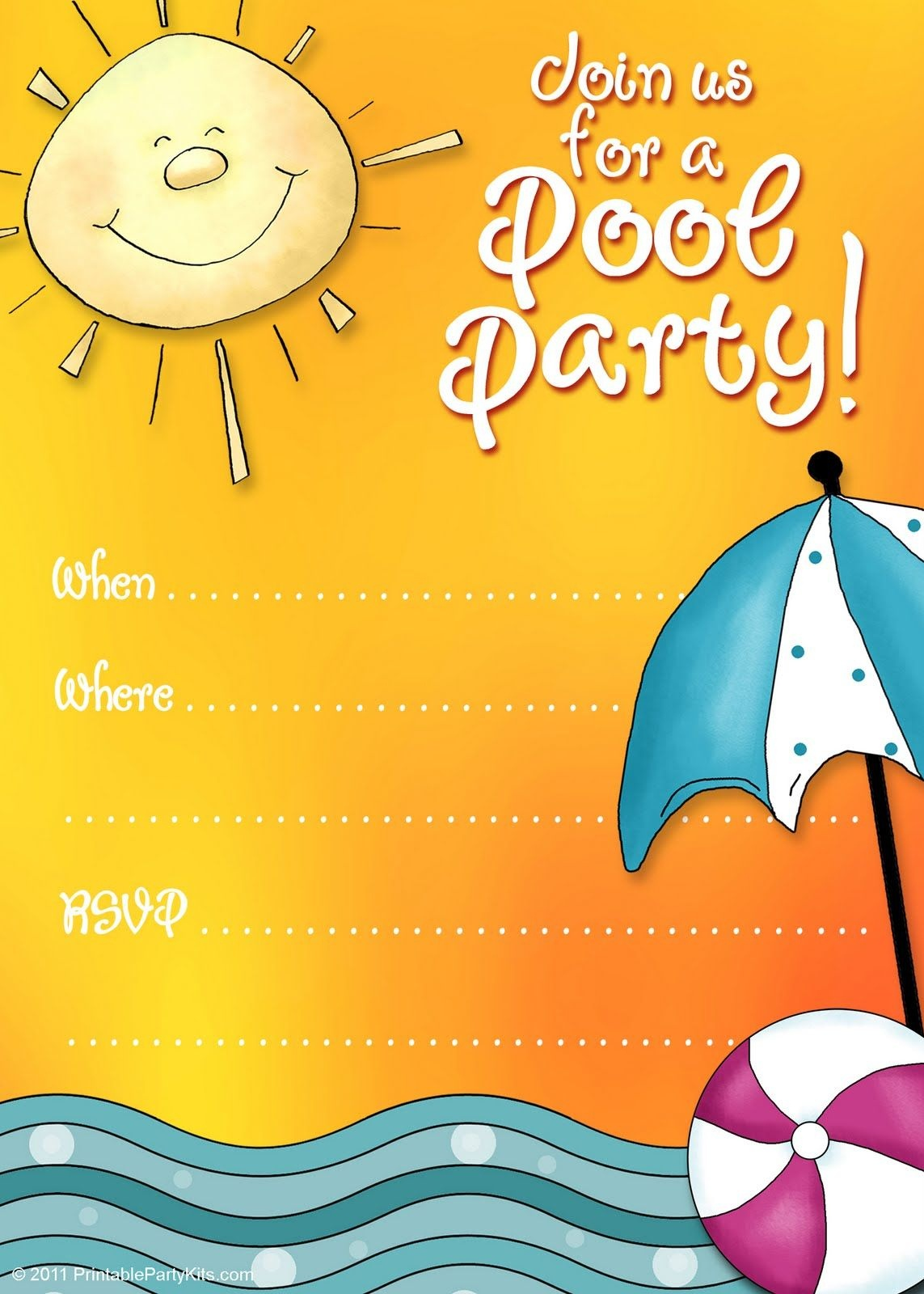Free Printable Party Invitations: Summer Pool Party Invites   Adhd - Free Printable Pool Party Birthday Invitations