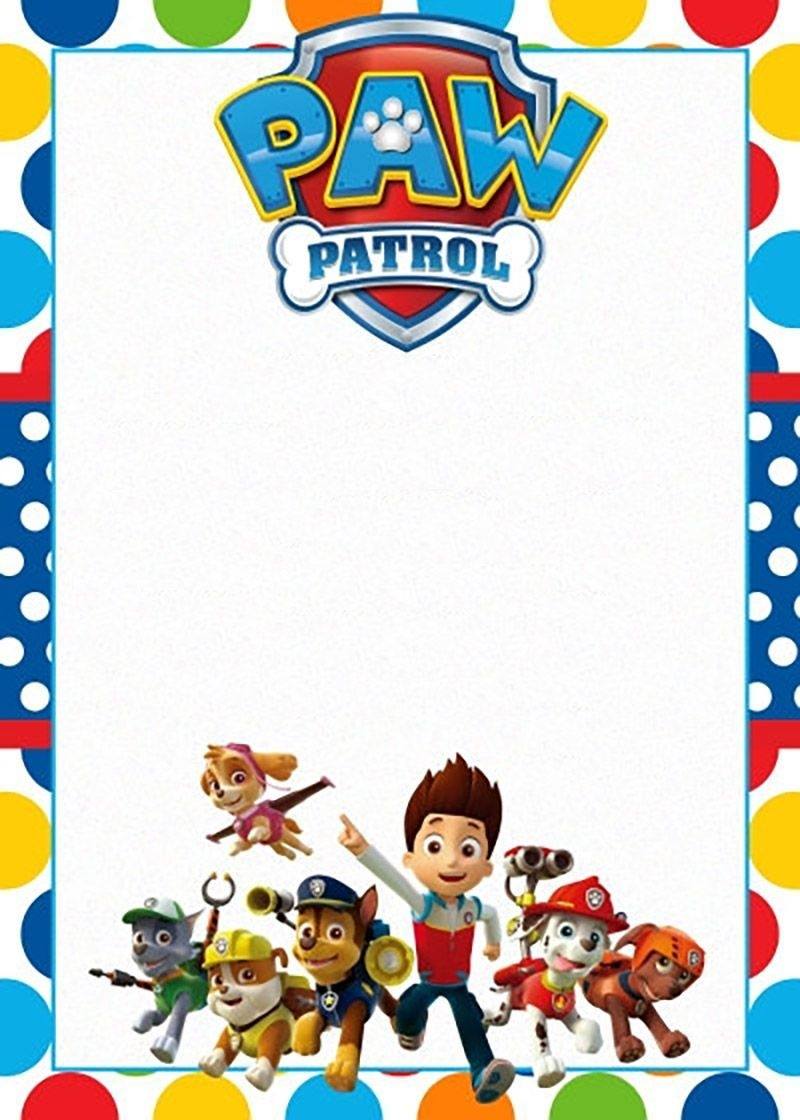 Free Printable Paw Patrol Invitation Template | Background Fun In - Free Printable Paw Patrol Invitations
