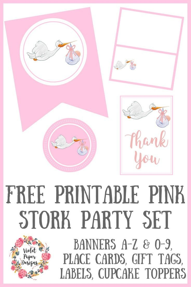 Free Printable Pink Stork Baby Shower Party Set   Free Must Have - Free Stork Party Invitations Printable