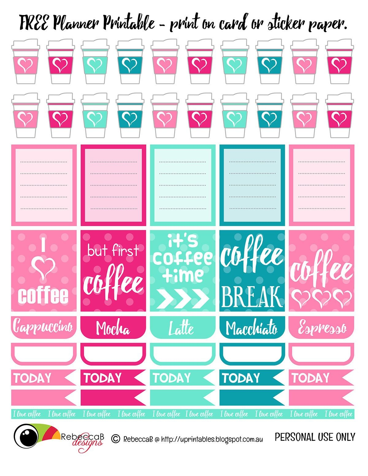 Free Printable Planner Stickers - Coffee. Print These Planner - Free Printable Card Stock Paper