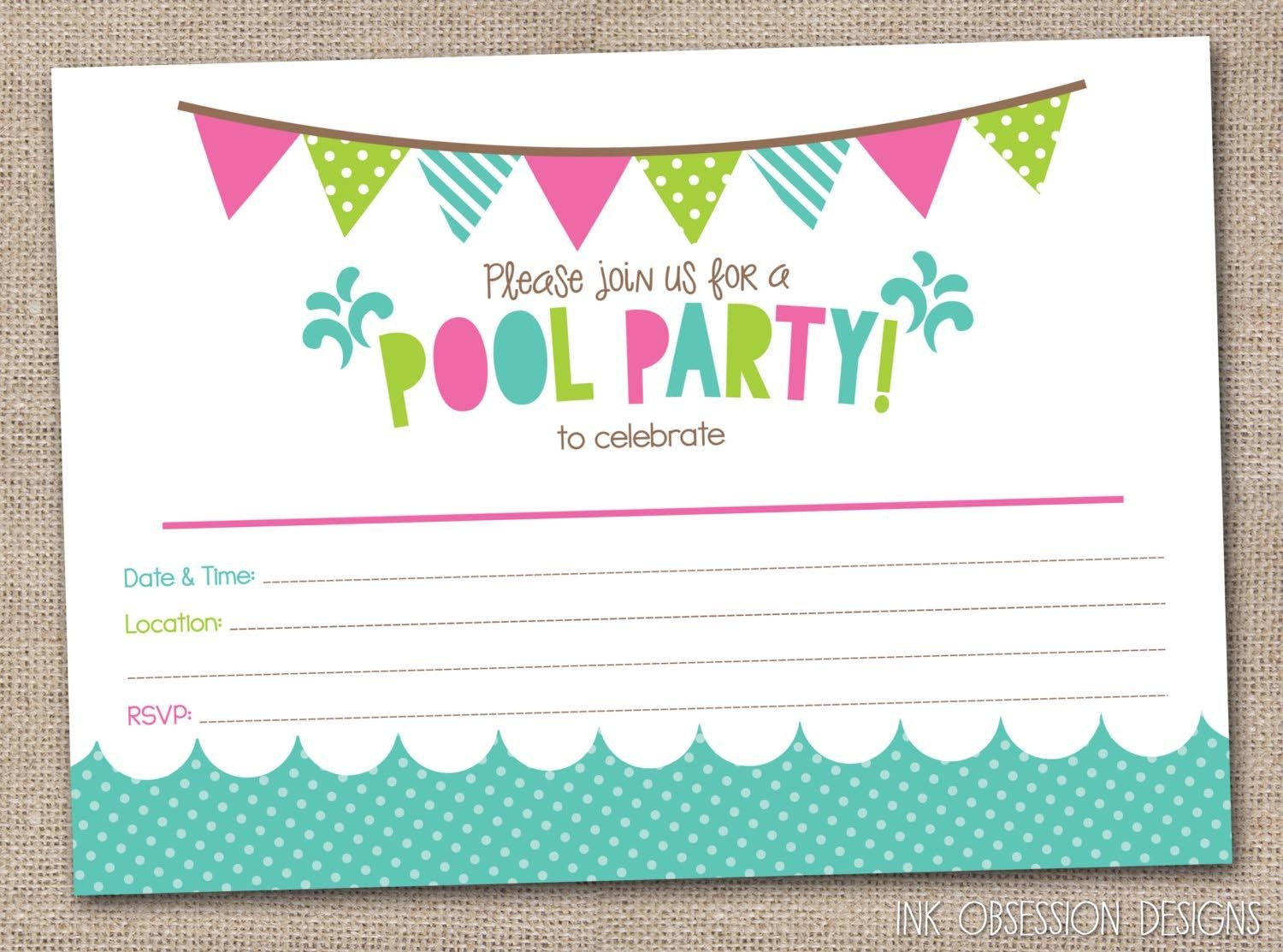 Free Printable Pool Party Birthday Invitations | Party Invitations - Free Printable Pool Party Birthday Invitations