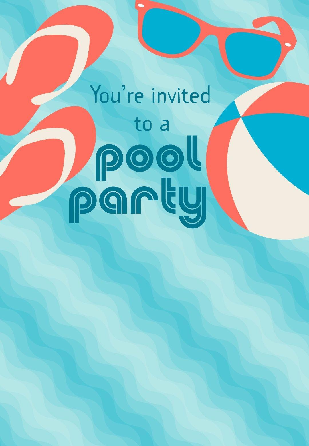 Free Printable Pool Party Stuff Invitation | Projects To Try In 2019 - Free Printable Pool Party Birthday Invitations