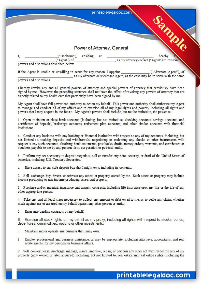 Free Printable Power Of Attorney, General Legal Forms | Free Legal - Free Printable Legal Documents Forms