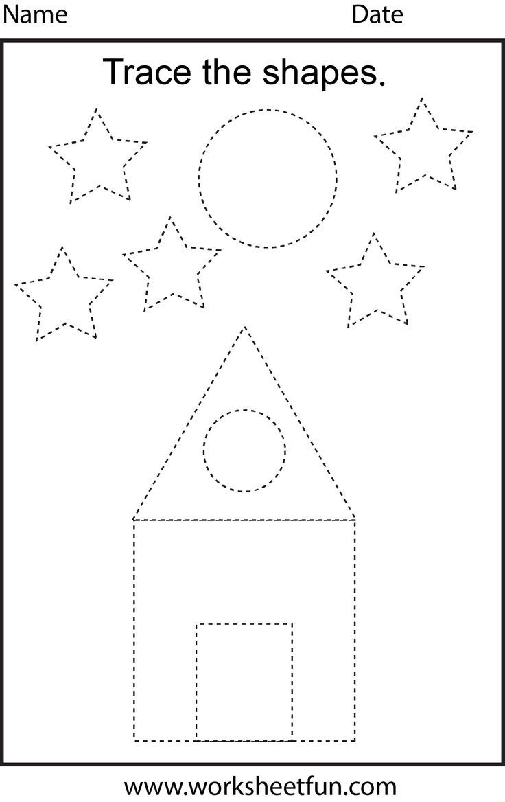 Free Printable Preschool Worksheets - This One Is Trace The Shapes - Free Printable Name Tracing Worksheets For Preschoolers