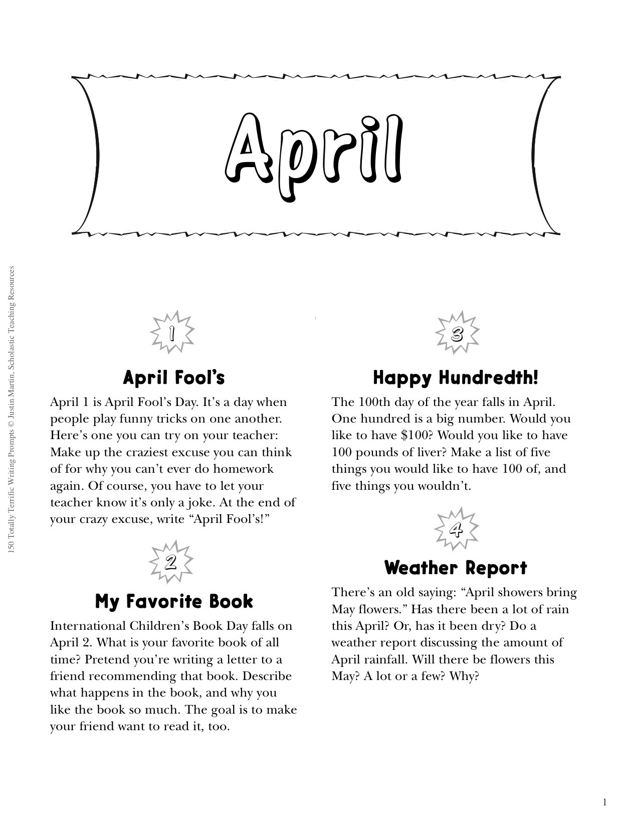 Free Printable Prompts To Spring Writing To Life   Scholastic - Get Out Of Homework Free Pass Printable