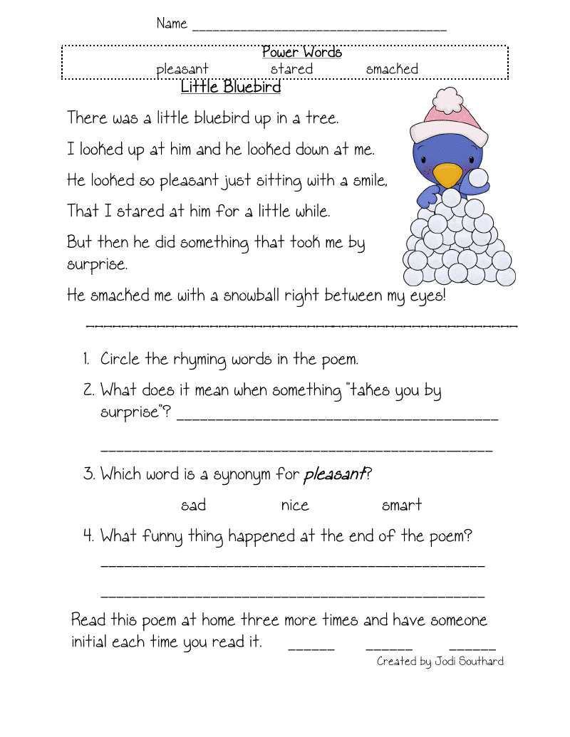 Free Printable Reading Comprehension Worksheets For Kindergarten - Free Printable English Comprehension Worksheets For Grade 4