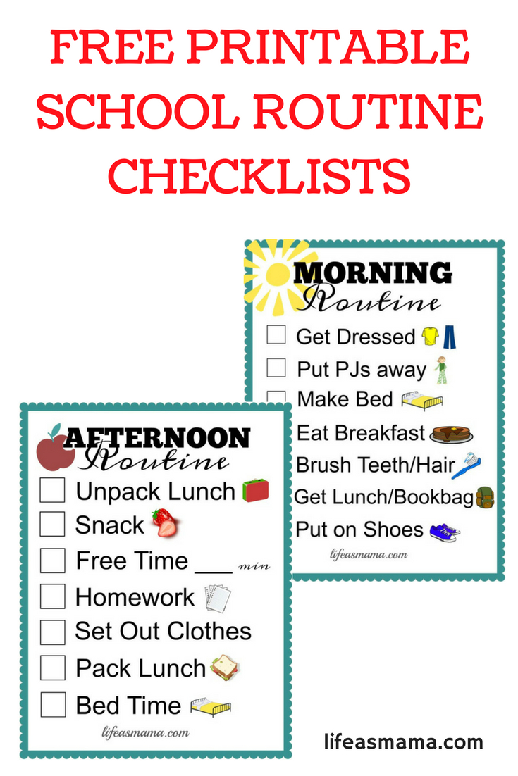 Free Printable School Routine Checklists   Printables   School - Free Printable Morning Routine Chart