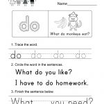 Free Printable Sight Word (Do) Worksheet For Kindergarten   Free Printable Sight Word Worksheets