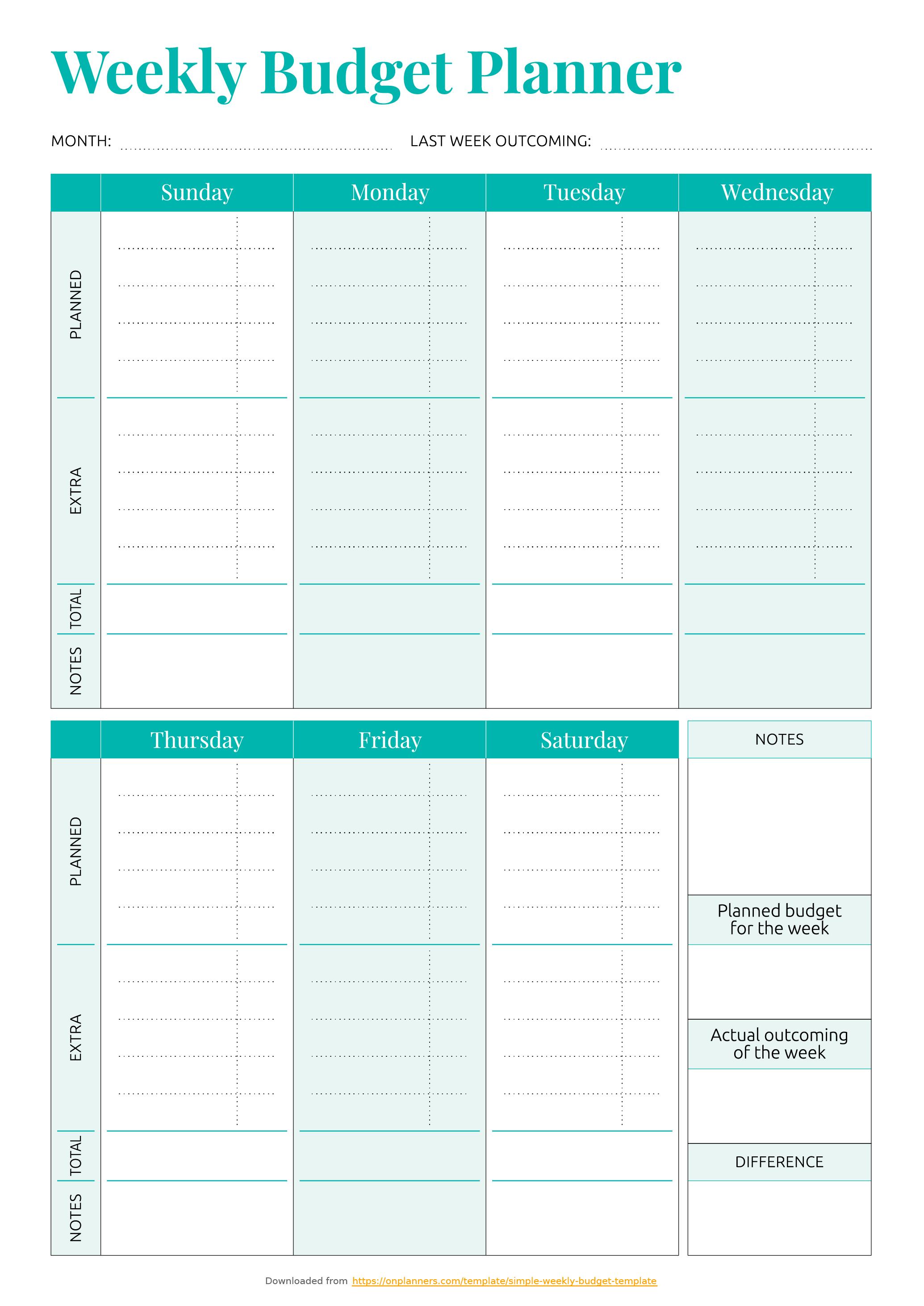 Free Printable Simple Weekly Budget Template Pdf Download - Free Budget Printable Template