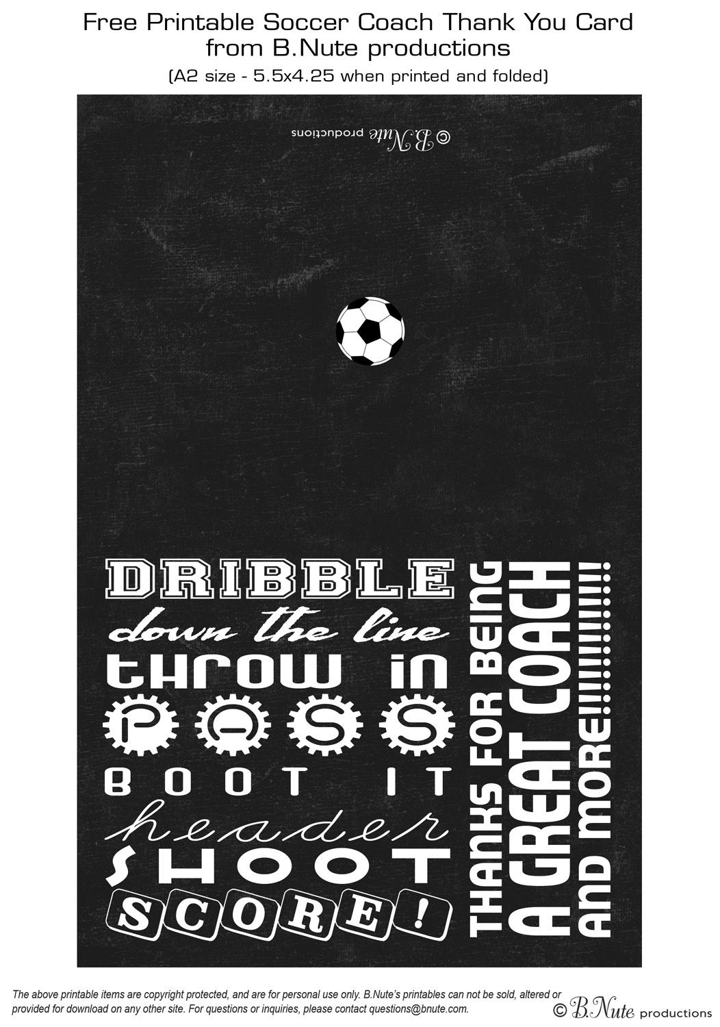 Free Printable Soccer Coach Thank You Card From B.nute Productions - Free Printable Soccer Thank You Cards