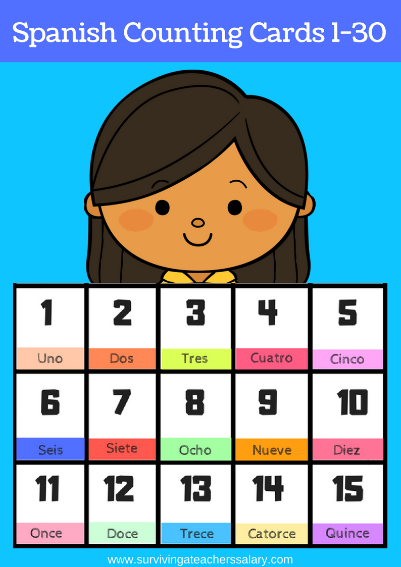 Free Printable Spanish Flashcards Numbers 1-30 - Free Printable Number Flashcards 1 30