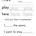 Free Printable Teaching Sight Words Worksheet For Kindergarten   Free Printable Classroom Worksheets