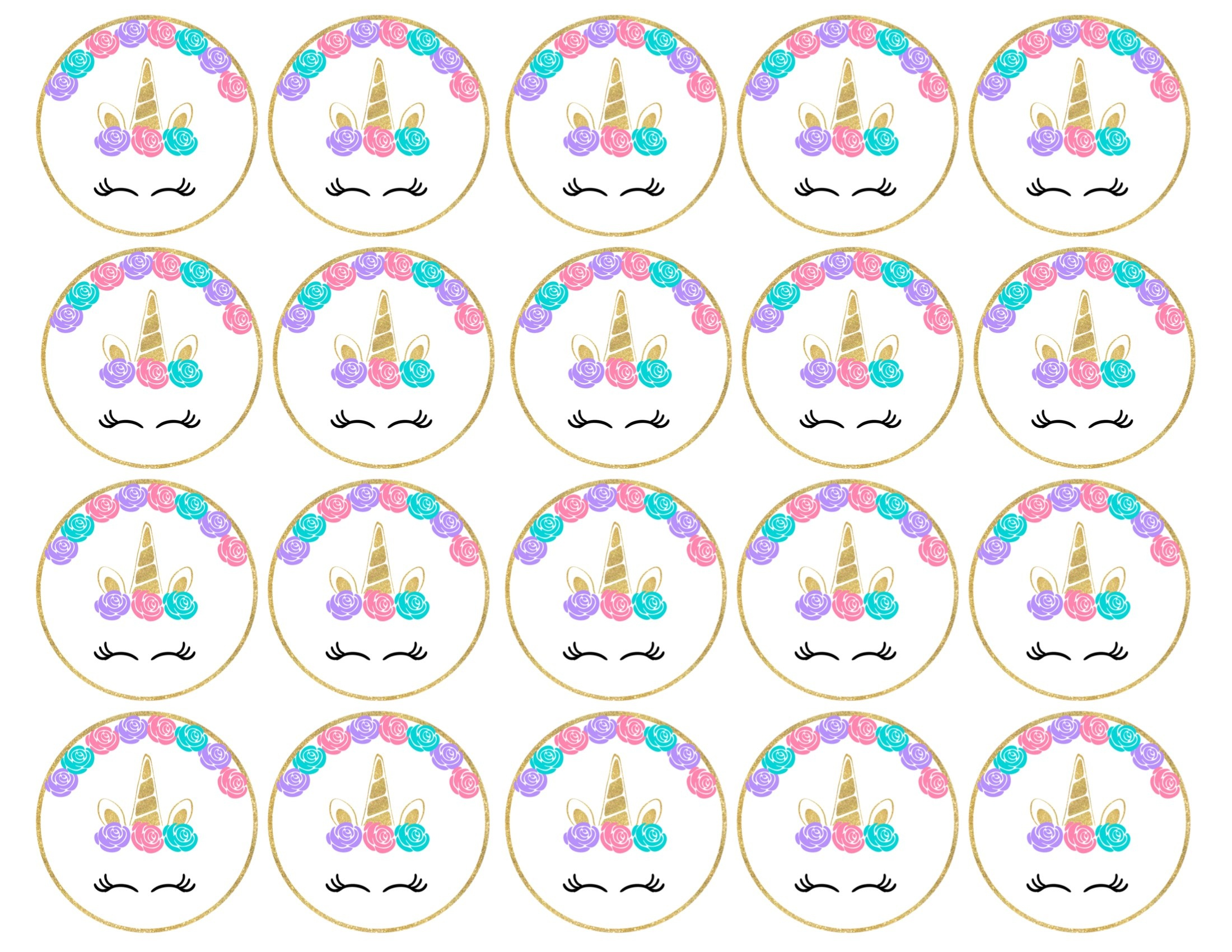 Free Printable Unicorn Cupcake Toppers - Paper Trail Design - Free Printable Cupcake Toppers