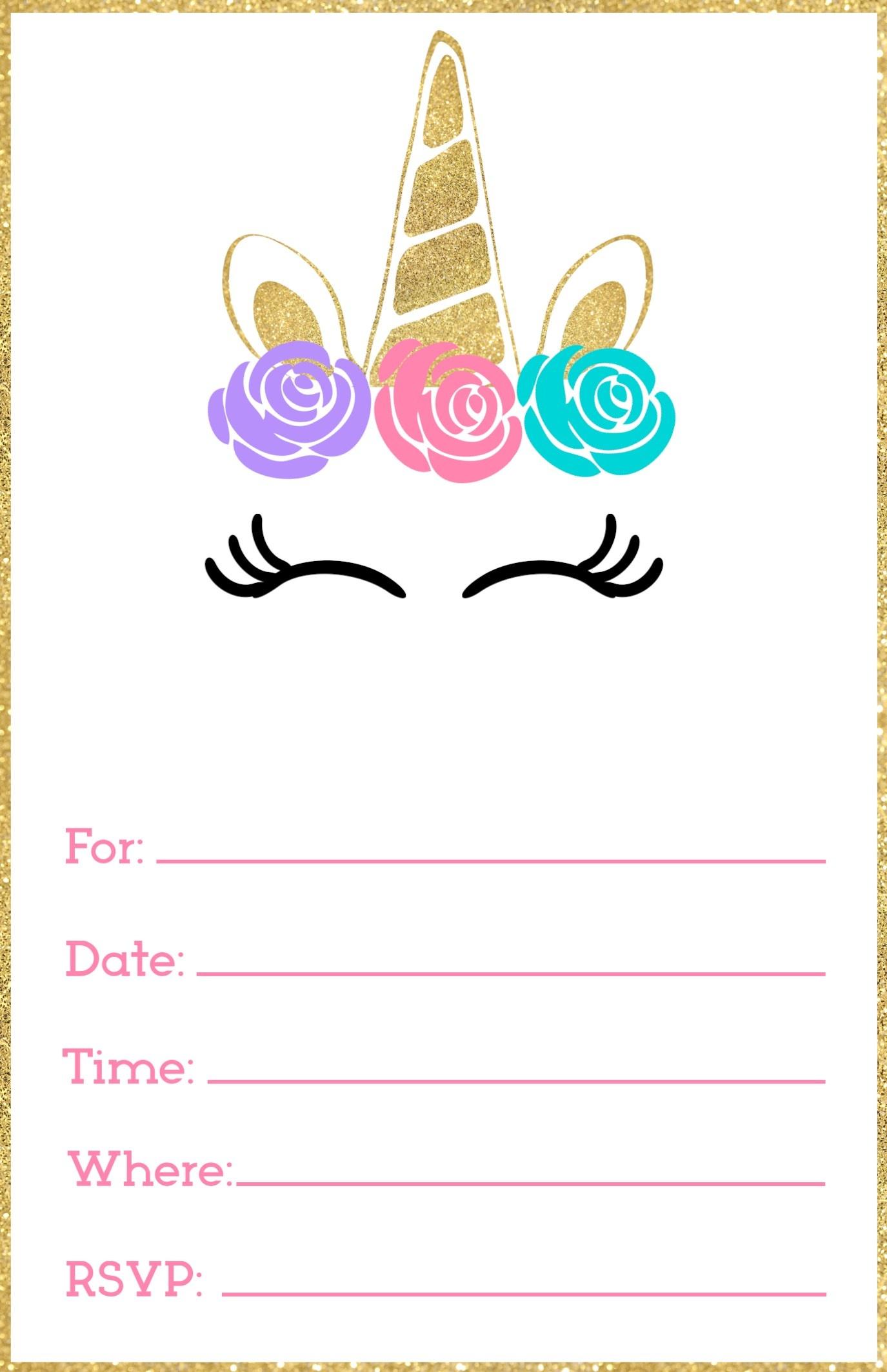 Free Printable Unicorn Invitations Template - Paper Trail Design - Free Printable Birthday Invitation Templates