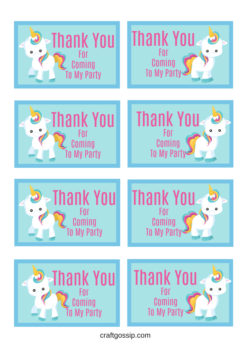 Free Printable Unicorn Party Gift Tag | Birthday Ideas - Free Printable Thank You Tags For Birthdays