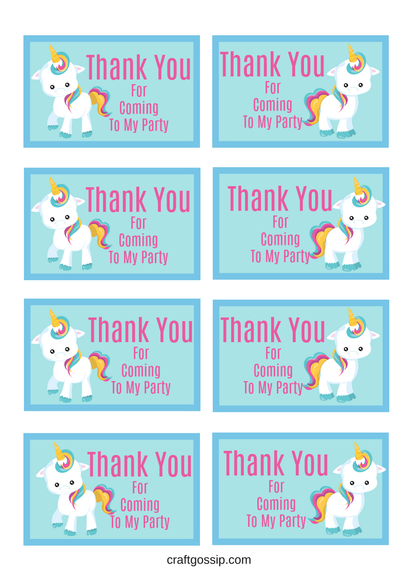 Free Printable Unicorn Party Gift Tag | Crafts | Unicorn Themed - Free Printable Thank You Tags For Birthday Favors